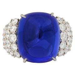 Sugarloaf Cut Gem Quality Tanzanite and Diamond Ring