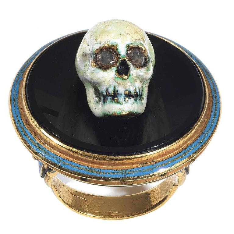 Attilio Codognato Enamel Onyx Diamond Skull on Tray Memento Mori Ring For Sale
