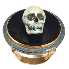 Attilio Codognato Enamel Onyx Diamond Skull on Tray Memento Mori Ring