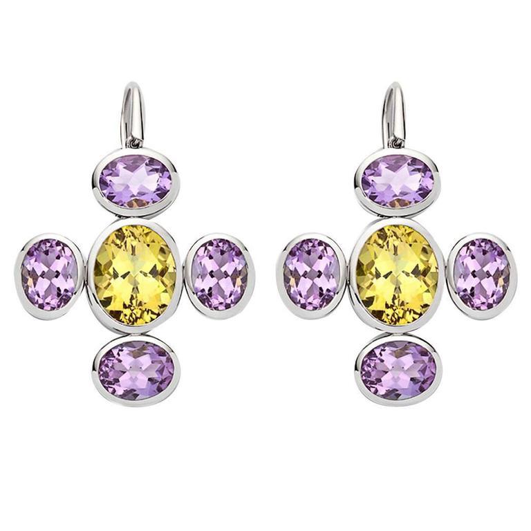 Colleen B. Rosenblat amethyst golden beryl gold earrings