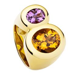 Colleen B. Rosenblat citrine amethyst gold ring