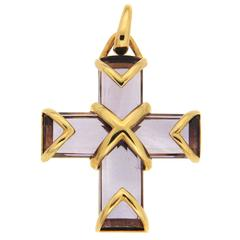 Amethyst Gold Cross Pendant