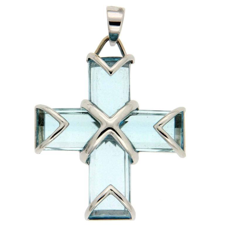Valentin Magro Blue Topaz Gold Cross Pendant