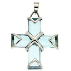 Blue Topaz Gold Cross Pendant
