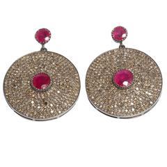 Jade Jagger Large Diamond and Ruby Disco Earrings