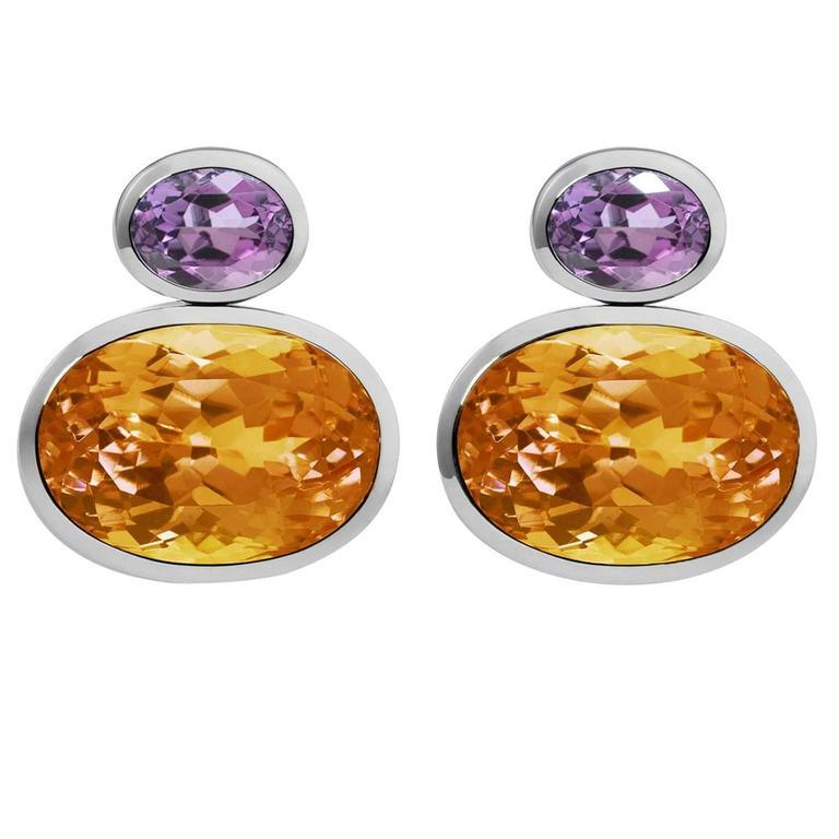 Colleen B. Rosenblat citrine amethyst gold earrings