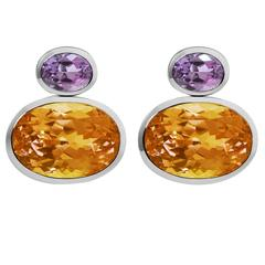 Colleen B. Rosenblat citrine amethyst gold earrings