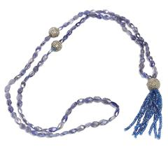 Jade Jagger Diamond and Sapphire Disco Ball Tassel Necklace