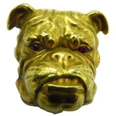 Fantastic Victorian Detailed Gold Bulldog Pin With Cabochon Cut Ruby Eyes