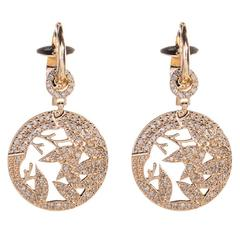 Jade Jagger Opium Bamboo Small Drop Diamond and Gold Earrings