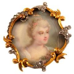 1890s Antique Belle Epoque Gold Platinum Portrait Pin Pendant