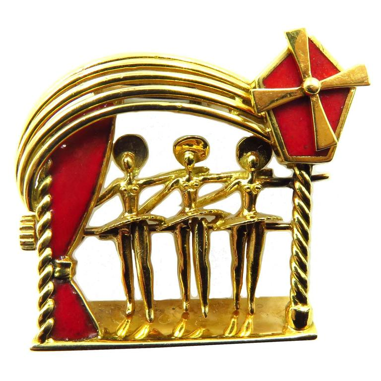French Enamel Movable Pin Gold Moulin Rouge Can-Can Girls Kicking
