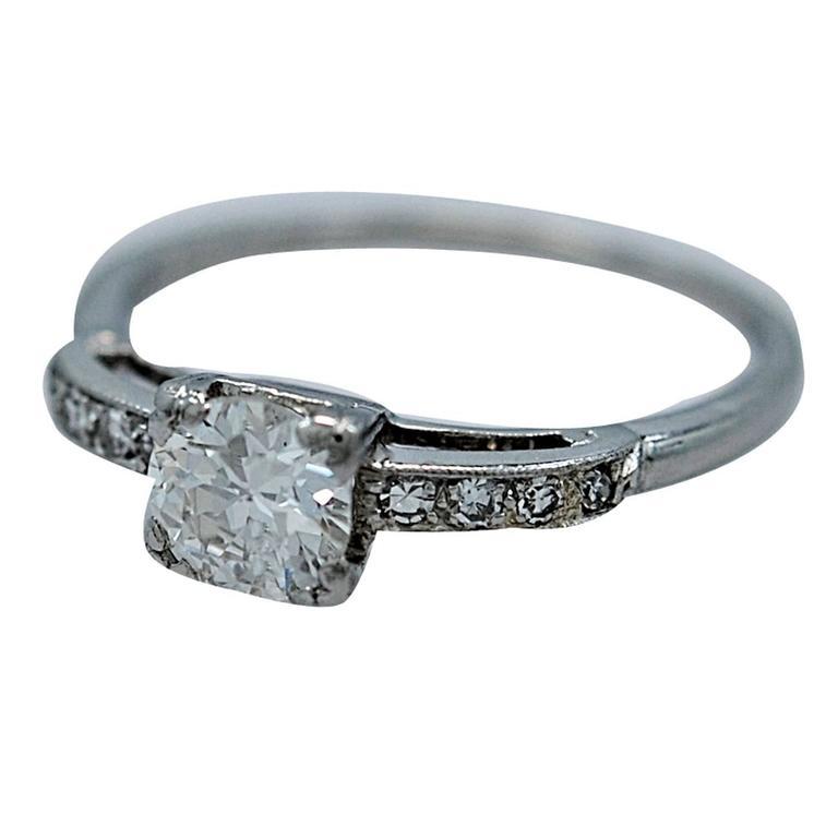 Amazing Art Deco .54 Carat Diamond Platinum Engagement Ring For Sale