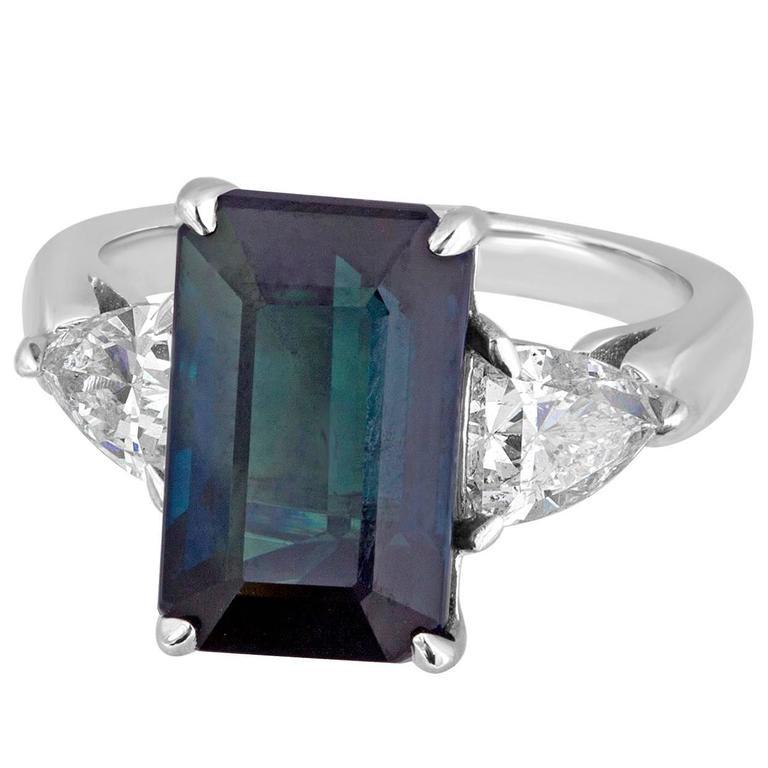 Certified No Heat 7.48 Carat Greenish Blue Step Cut Sapphire Diamond Gold Ring