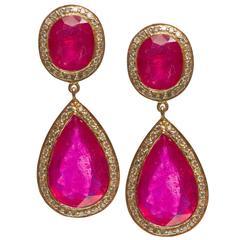 Jade Jagger Fine Double Ruby Earrings with Diamonds
