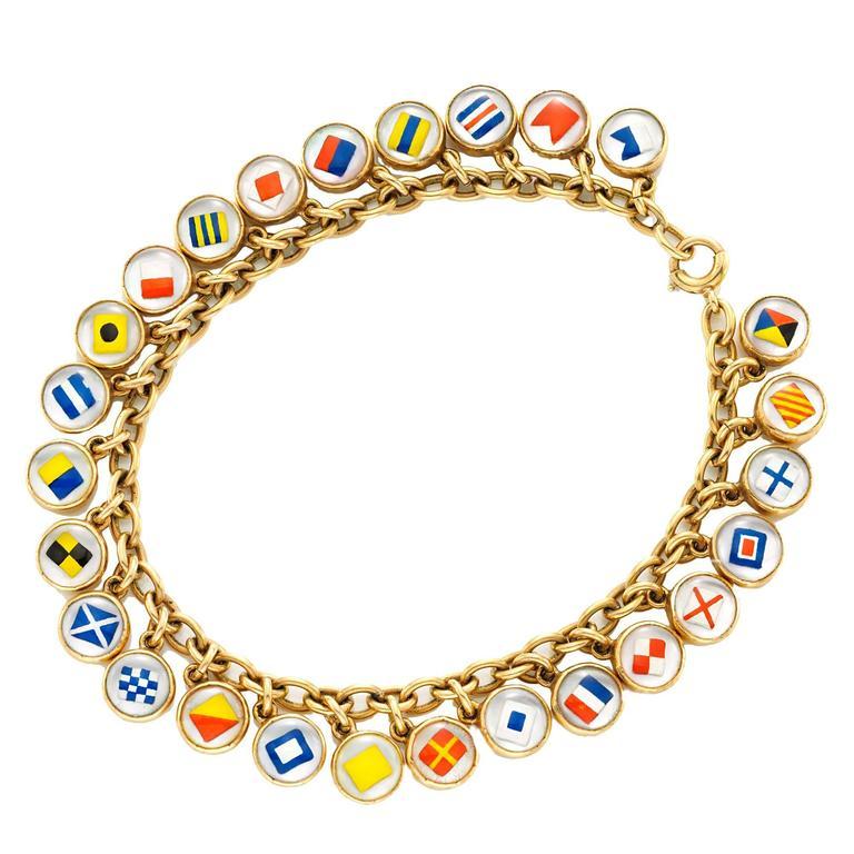 gold nautical flag charm bracelet at 1stdibs