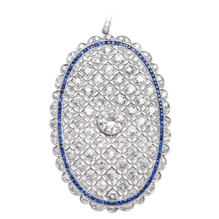 Sapphire Diamond Platinum Pendant Necklace
