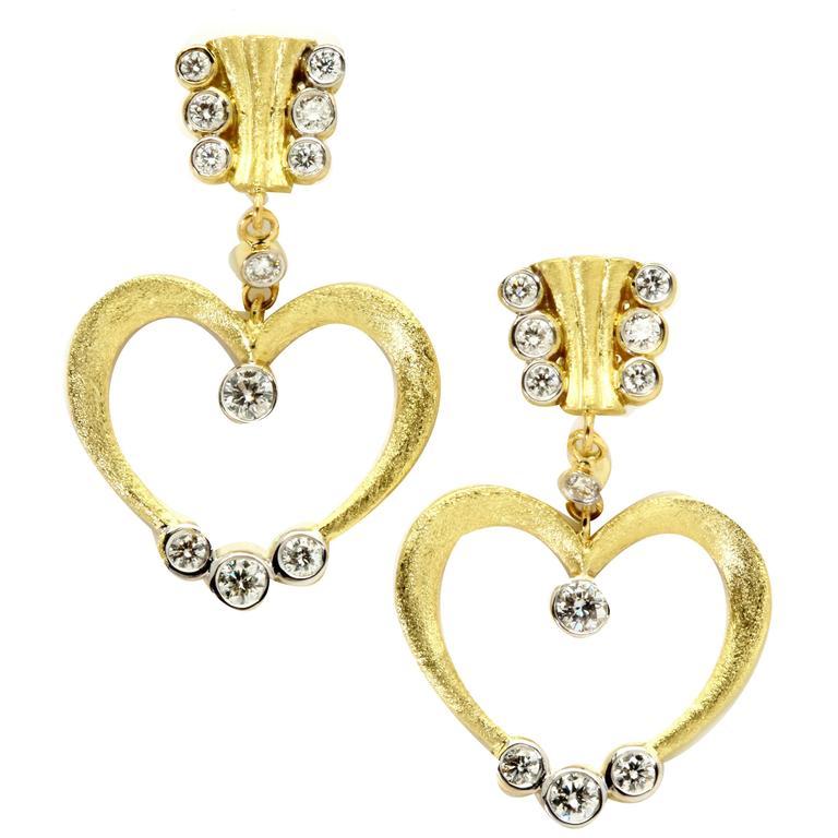 Stambolian Diamond Gold Heart Drop Earrings
