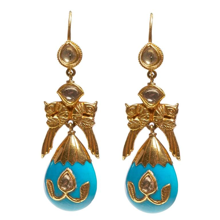 Jade Jagger Turquoise Bird Earrings with Diamond For Sale
