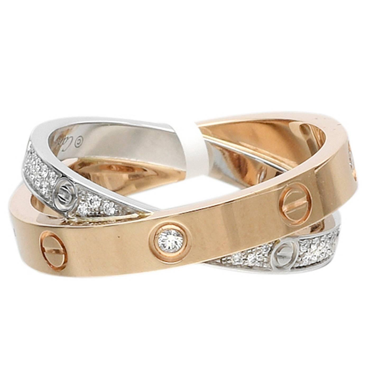 Cartier LOVE Diamond Gold Double Band Ring at 1stdibs