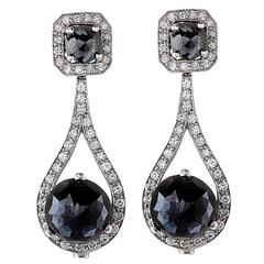 26.74 Carat Black Diamond Earrings