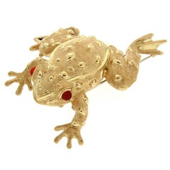 Golden Frog Brooch With Fire Opal