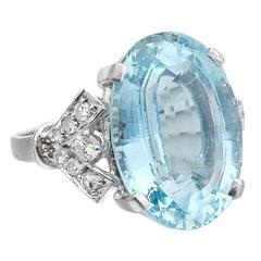 12 Carat Aquamarine Diamond gold Ring