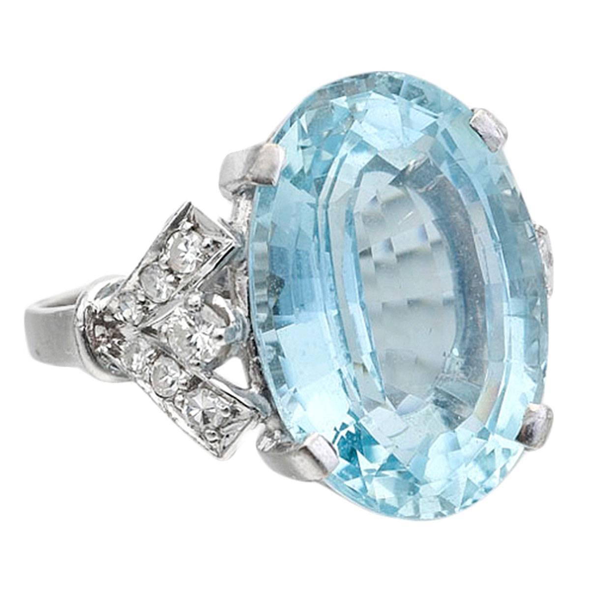 12 carat aquamarine diamond gold ring at 1stdibs