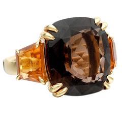 Seaman Schepps Smoky Quartz Citrine Gold Three-Stone Ring