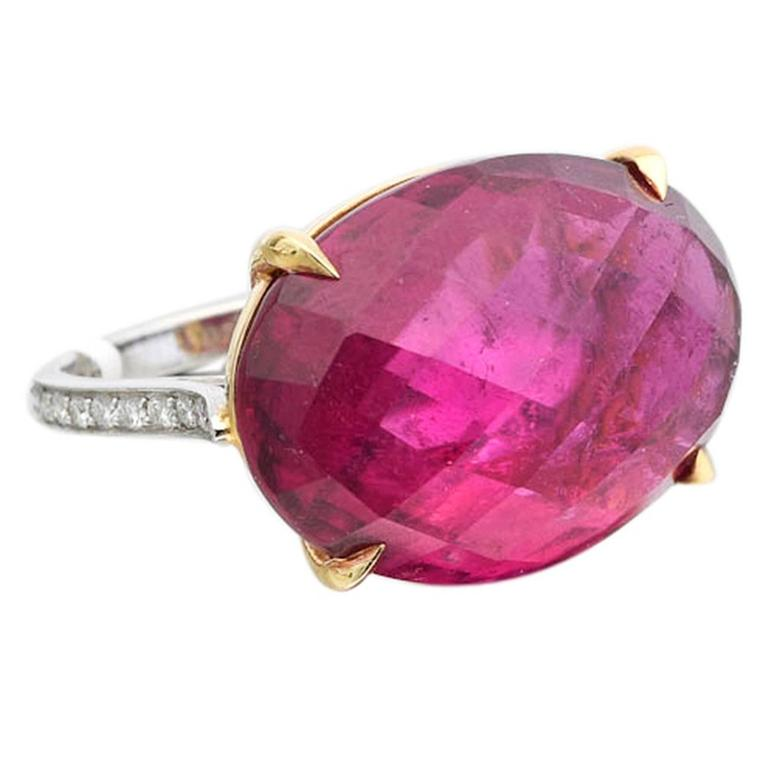 Paolo Costagli Pink Tourmaline Diamond Cocktail Ring For Sale