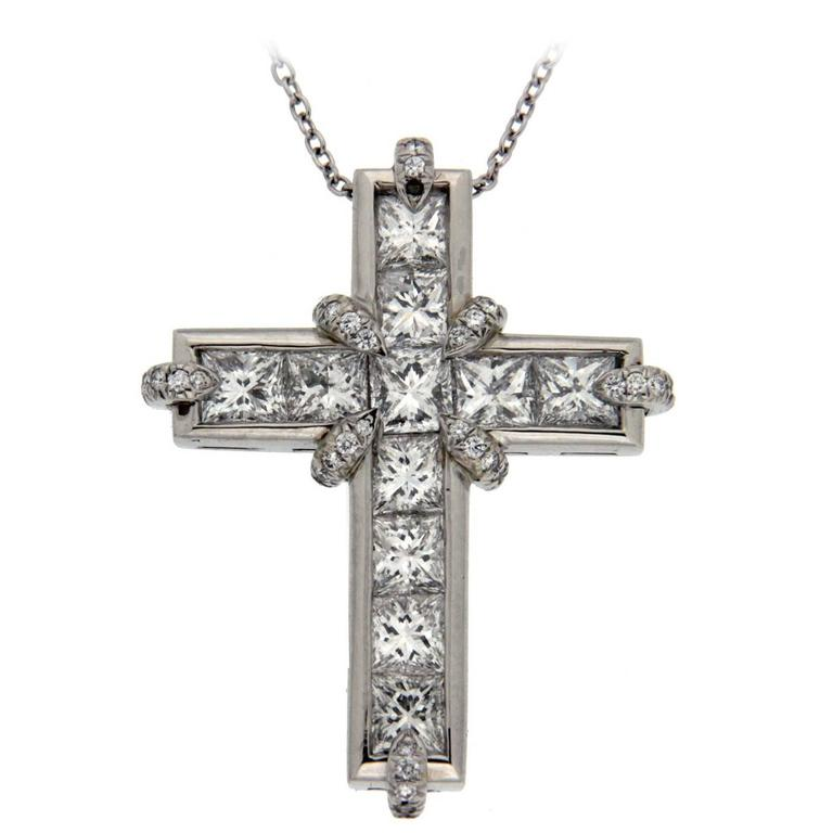 Princess Cut and Claw Diamond Platinum Cross Pendant
