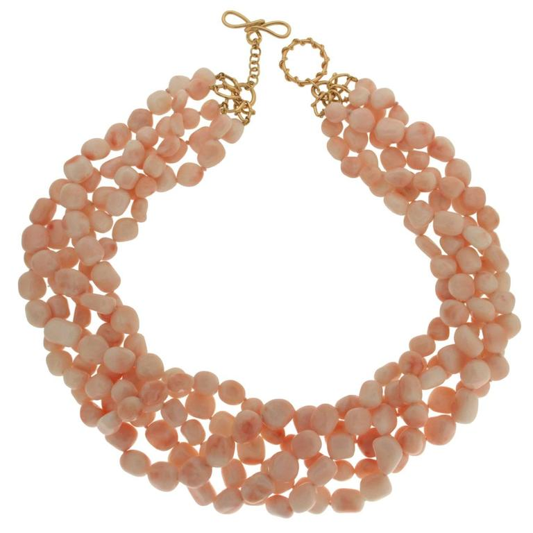 Five Strand Angel Skin Coral Nugget Necklace 1