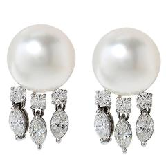 pearl Diamond Dangle Earrings