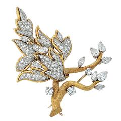 5.75 Carat Diamond Brooch
