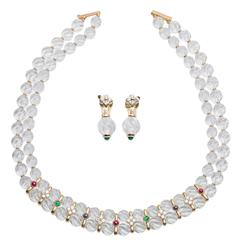 Boucheron Quartz Ruby Emerald Sapphire Diamond Necklace and Earring Set