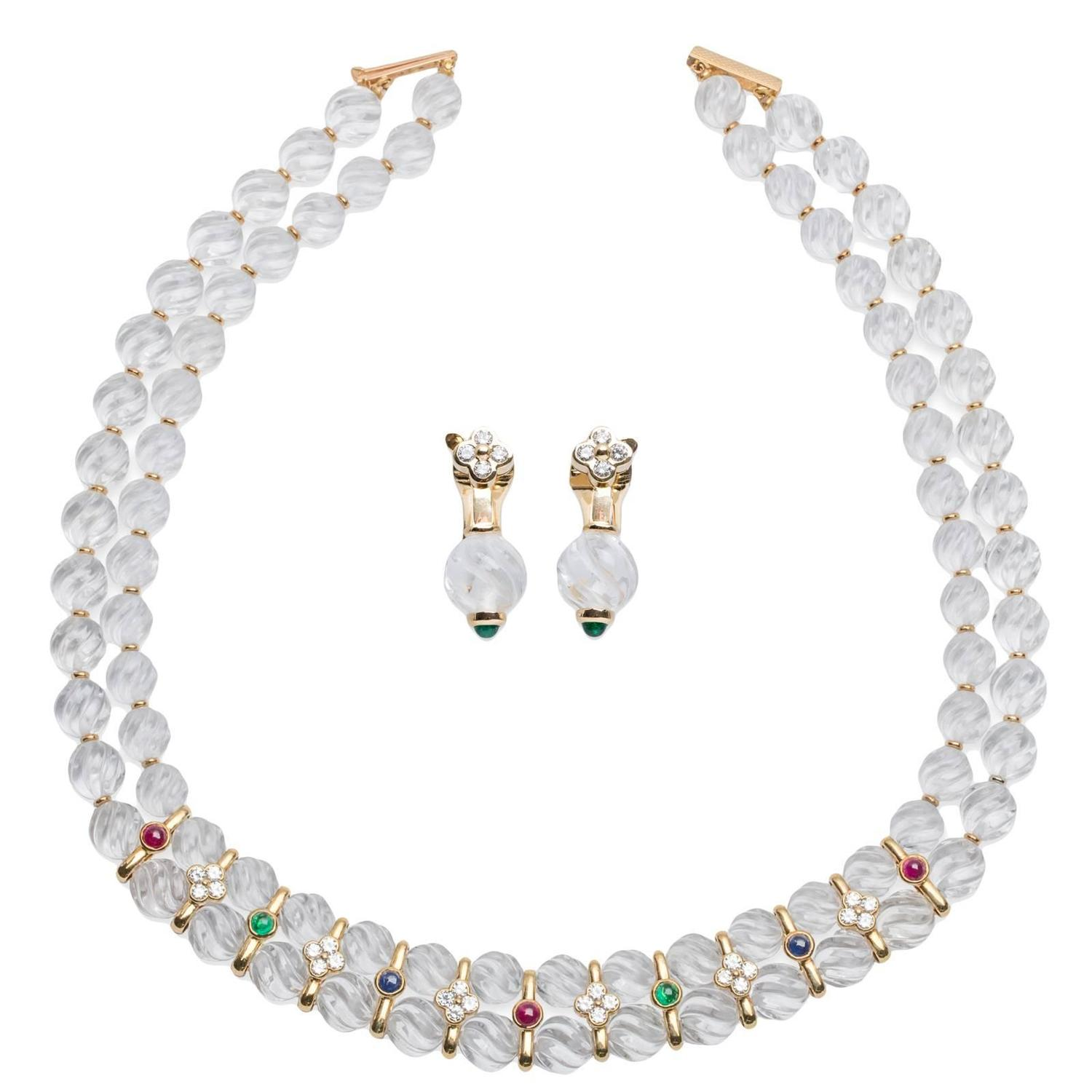 Boucheron Quartz Ruby Emerald Shire Diamond Necklace And Earring Set For At 1stdibs