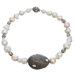 Gorgeous Baroque South Sea Pearl Diamonds Silver Necklace