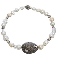 Gorgeous Baroque South Sea Pearl Diamonds Silver Necklace