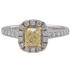.90 Carat GIA Graded Fancy Yellow Diamond Ring