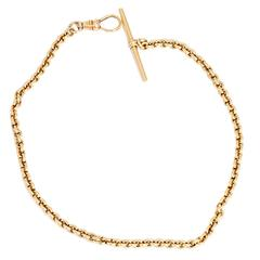 Gold 12-inch T-Bar Pocket Watch Chain