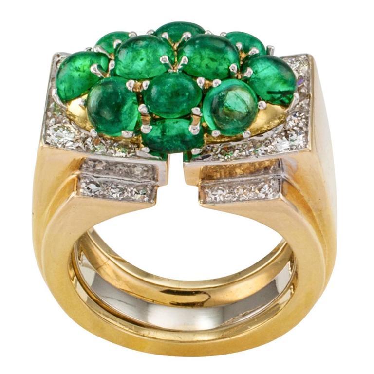 David Webb Emerald Diamond Gold Cocktail Ring