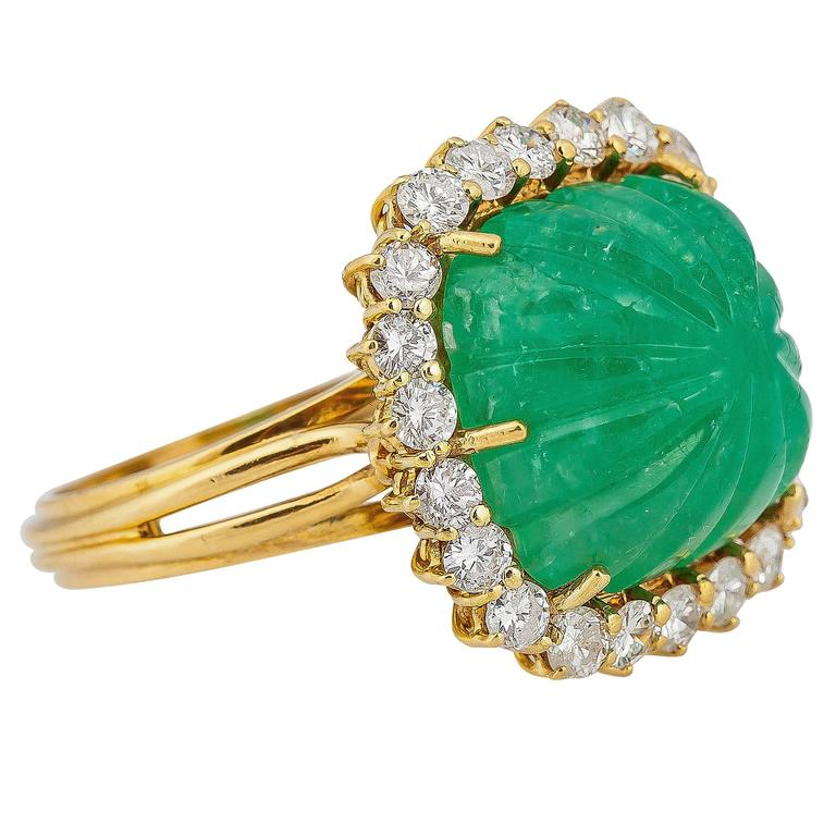 Italian Carved Emerald Diamond Gold Ring At 1stdibs