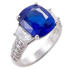 AGL Certified 8.02 Carat UNTREATED Sapphire Diamond Platinum Ring By Kurt Wayne
