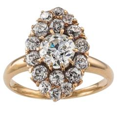 Victorian Diamond Gold Navette Cluster Ring