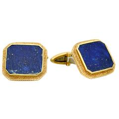 Buccellati Lapis Gold Rectangular Cufflinks