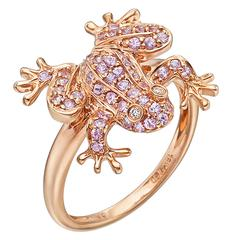 Pink Sapphire Gold Frog Ring