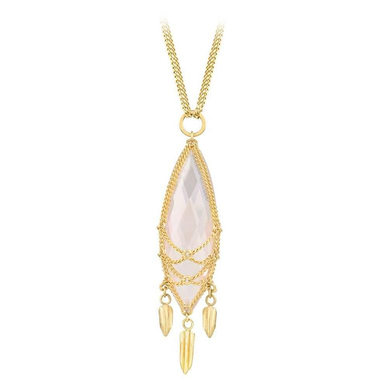 Anthony Nak Rose Quartz Gold Pendant Necklace 1