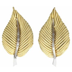 Vintage Diamond and 18K Gold  Leaf  Earrings