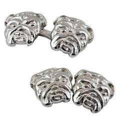 Jona Bulldog Sterling Silver Cufflinks