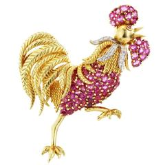 Ruby diamond gold platinum Rooster Pin